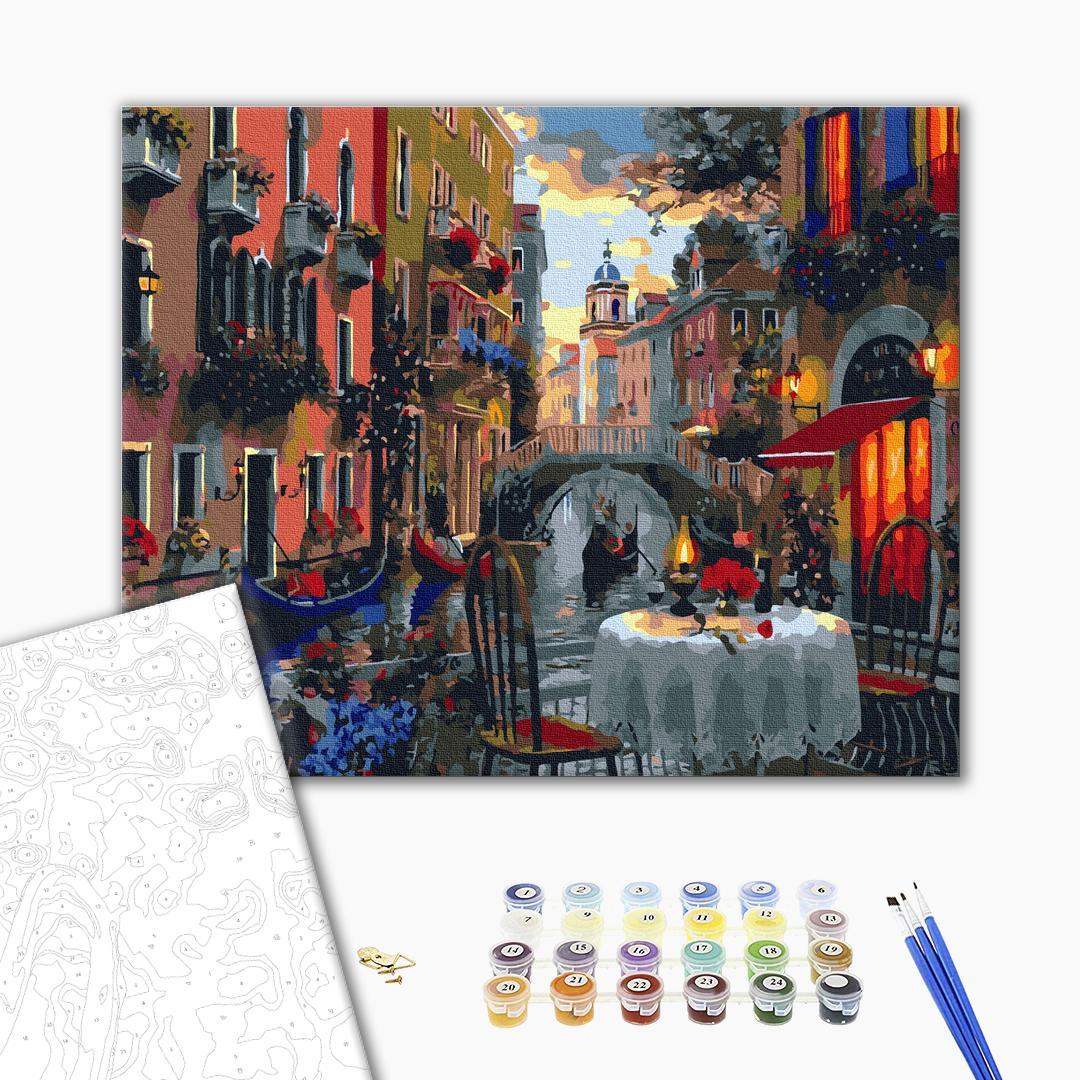 Картина по номерам Города - Вуличне кафе в Венеції