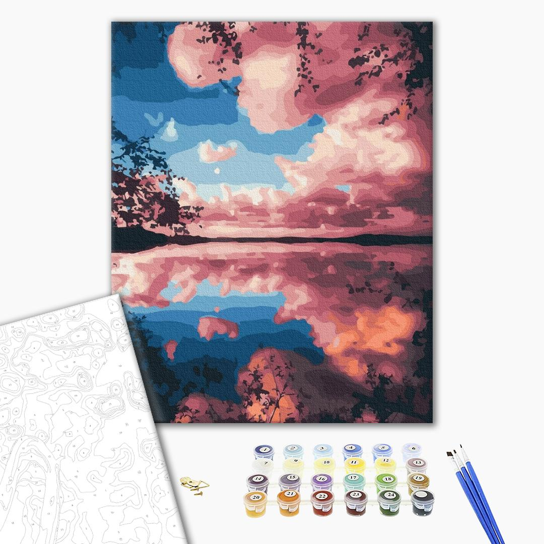 Картина по номерам Пейзажи - Розовые облака над озером