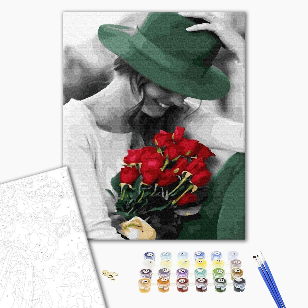 Картина по номерам Люди на картинах - Счастливая леди с цветами