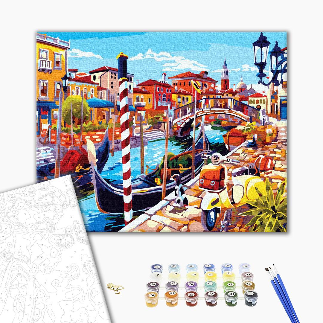 Картина по номерам Города - Яркий канал с гондолами