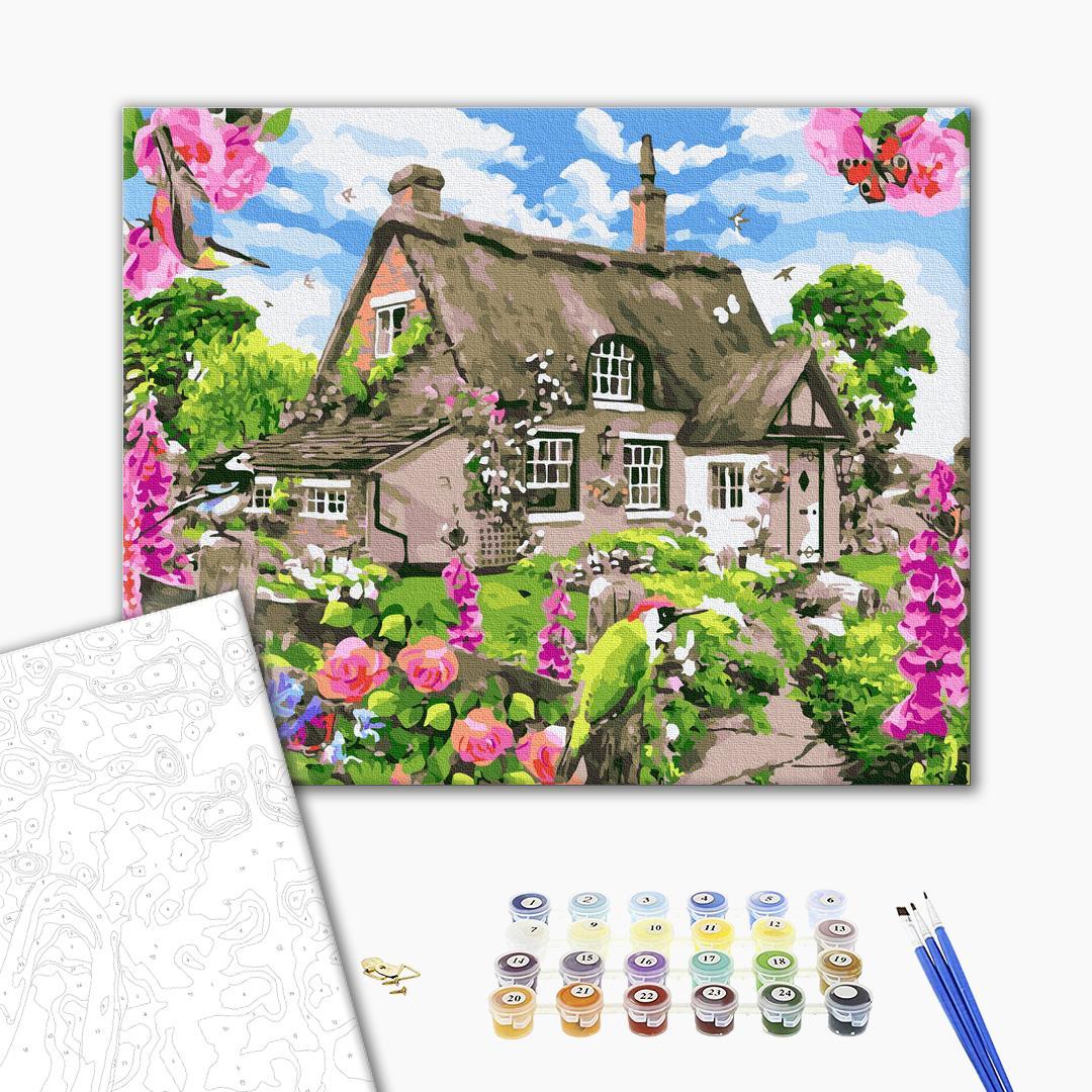 Картина по номерам Пейзажи - Домик с цветущим садом