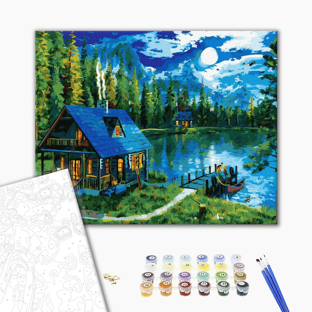Картина по номерам Пейзажи - Казкова хатинка біля озера