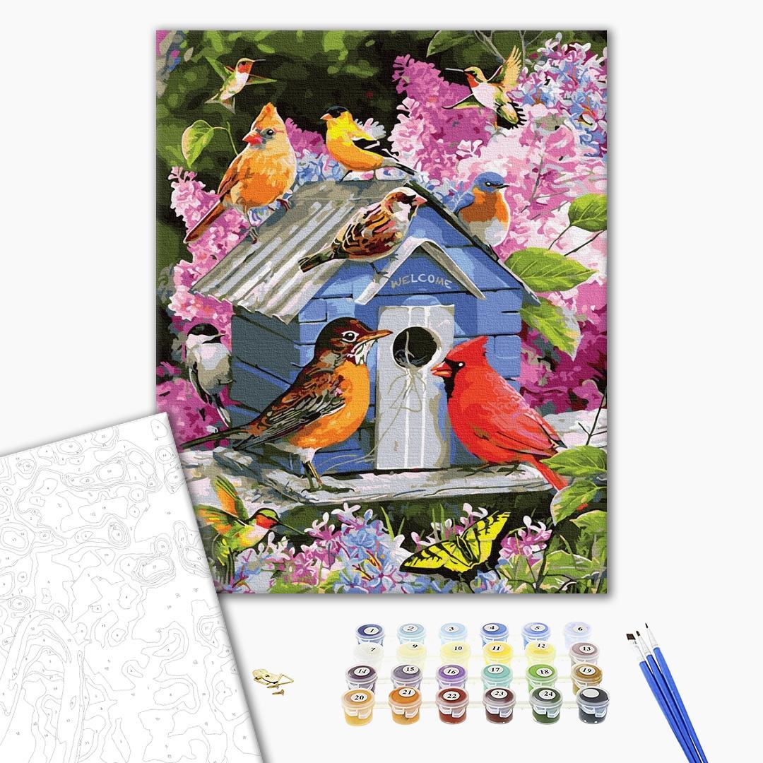 Картина по номерам Животные, птицы и рыбы - Пташина годівничка