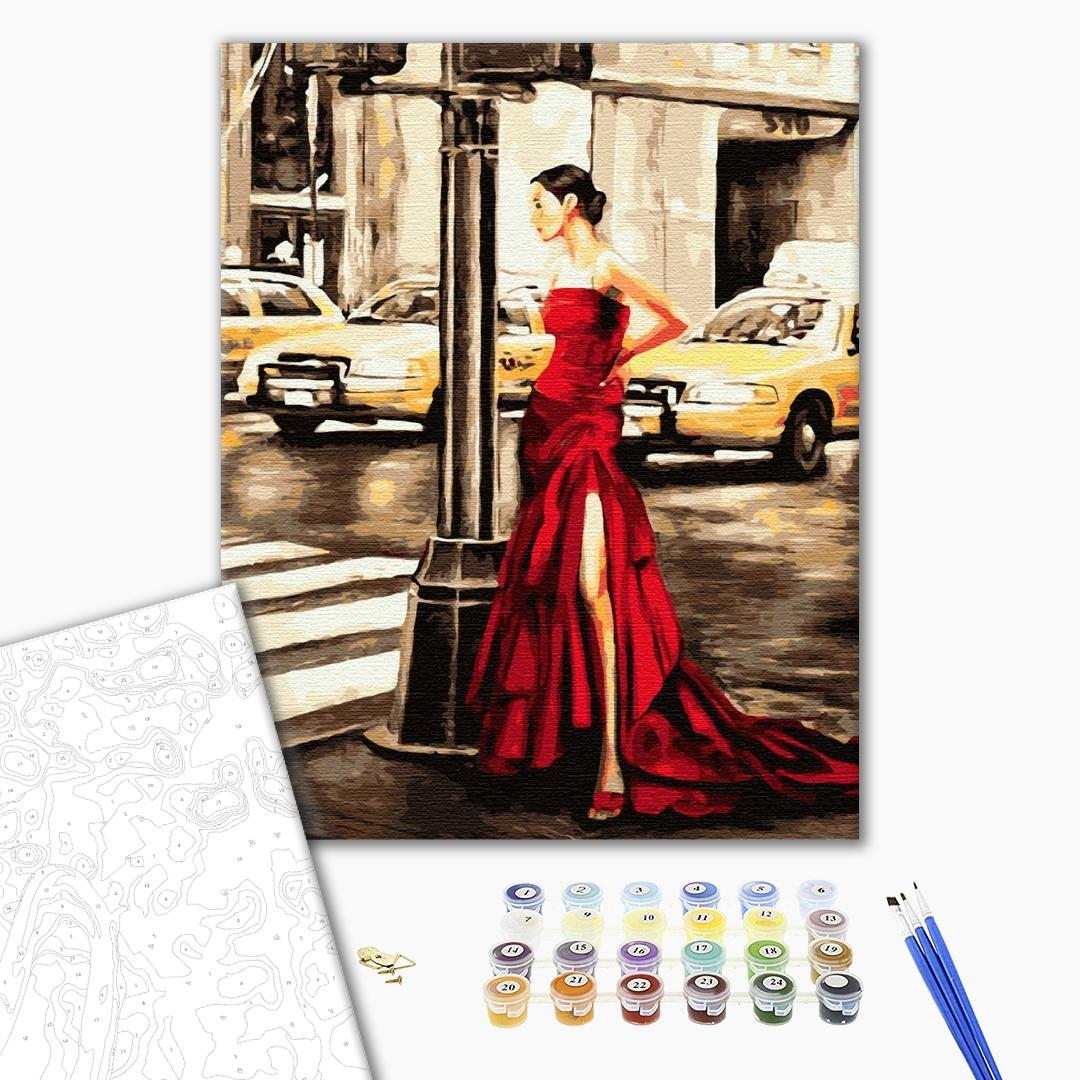 Картина по номерам Люди на картинах - Дівчина і жовте таксі