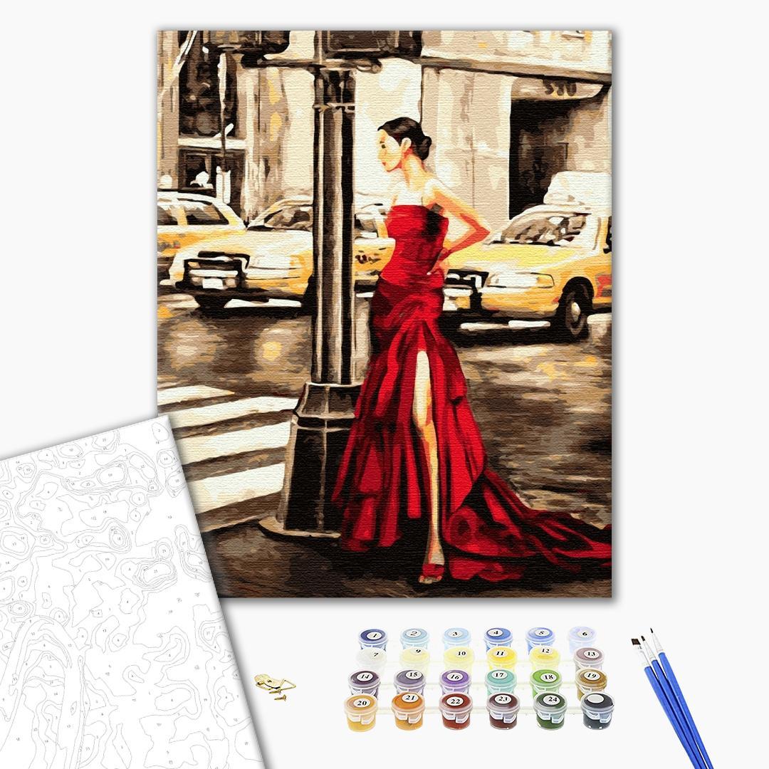 Картина по номерам Люди на картинах - Девушка и желтое такси