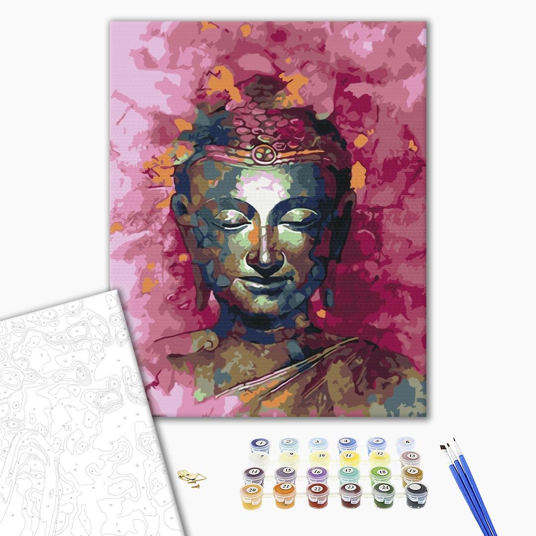 Картина по номерам Люди на картинах - Будда в рожевих відтінках