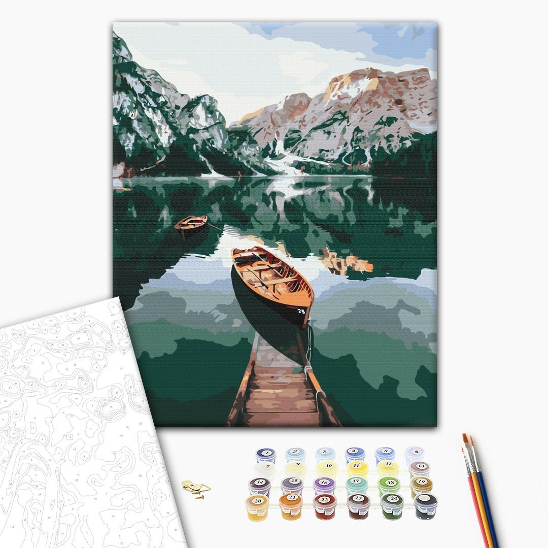 Картина по номерам Природа - Лодка на зеркальном озере