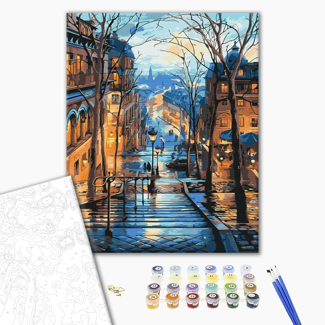 Картина по номерам Города - Вечерний город после дождя
