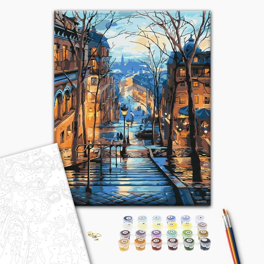 Картина по номерам Города - Вечірнє місто після дощу