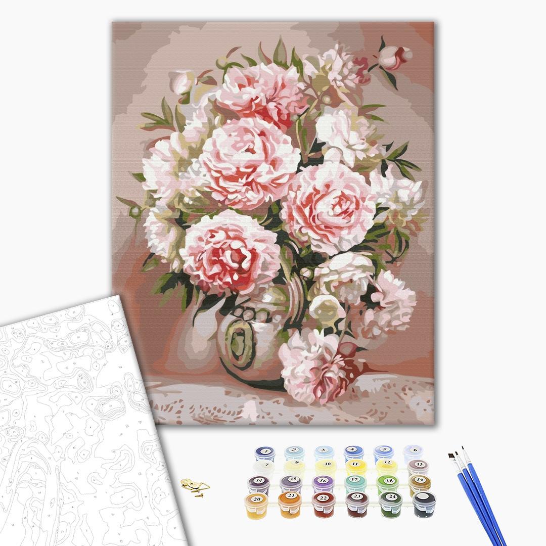 Картина по номерам Цветы - Ваза з піонами