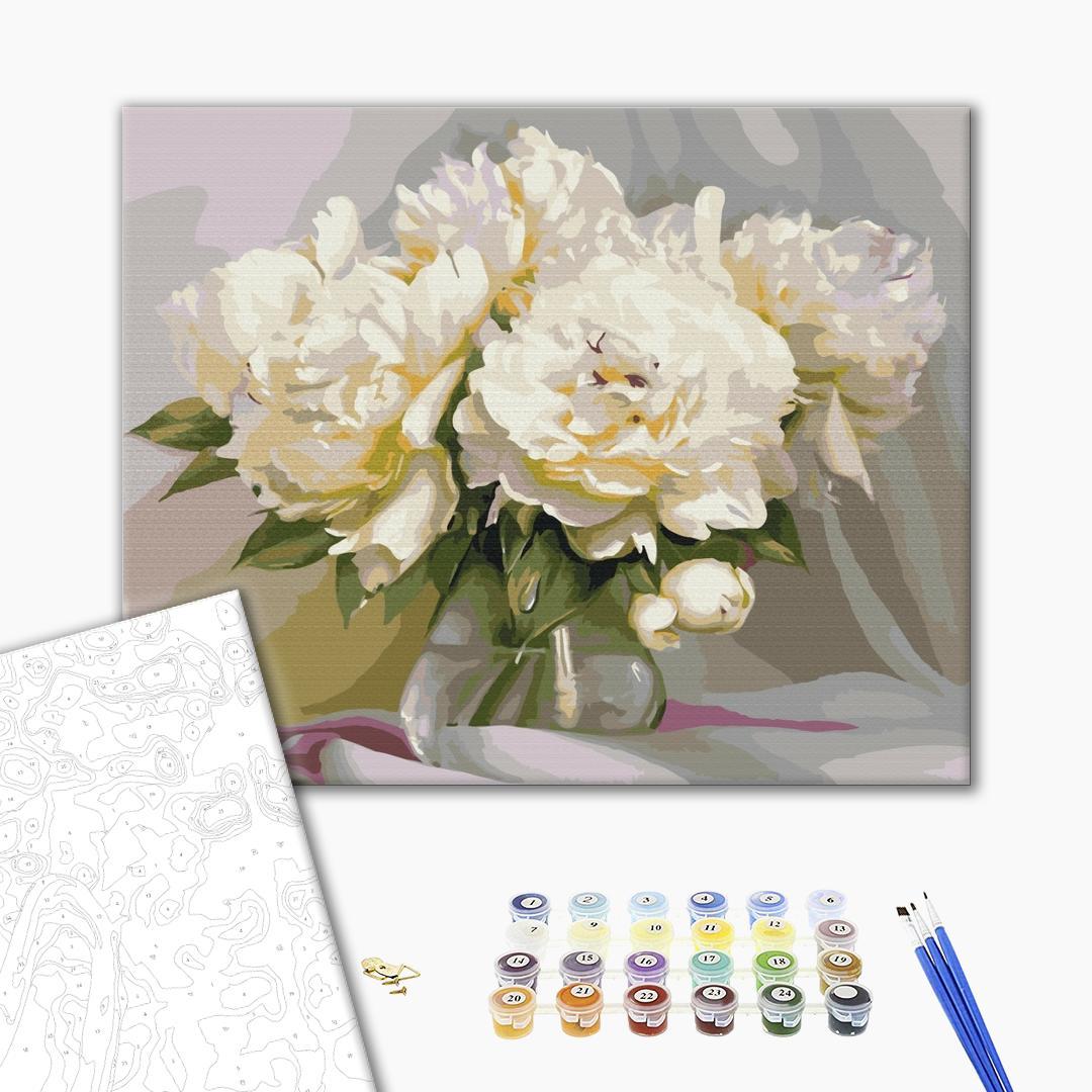 Картина по номерам Цветы - Изысканная нежность пионов