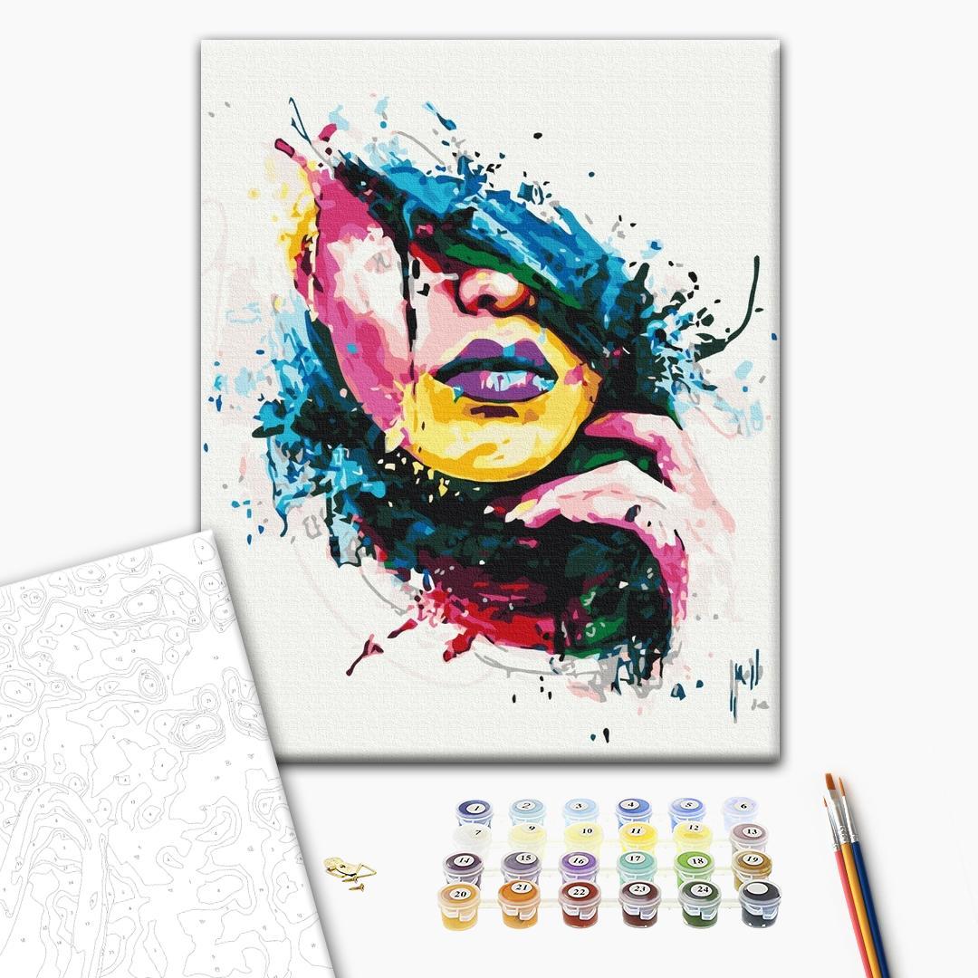 Картина по номерам Поп-арт - Красочная девушка
