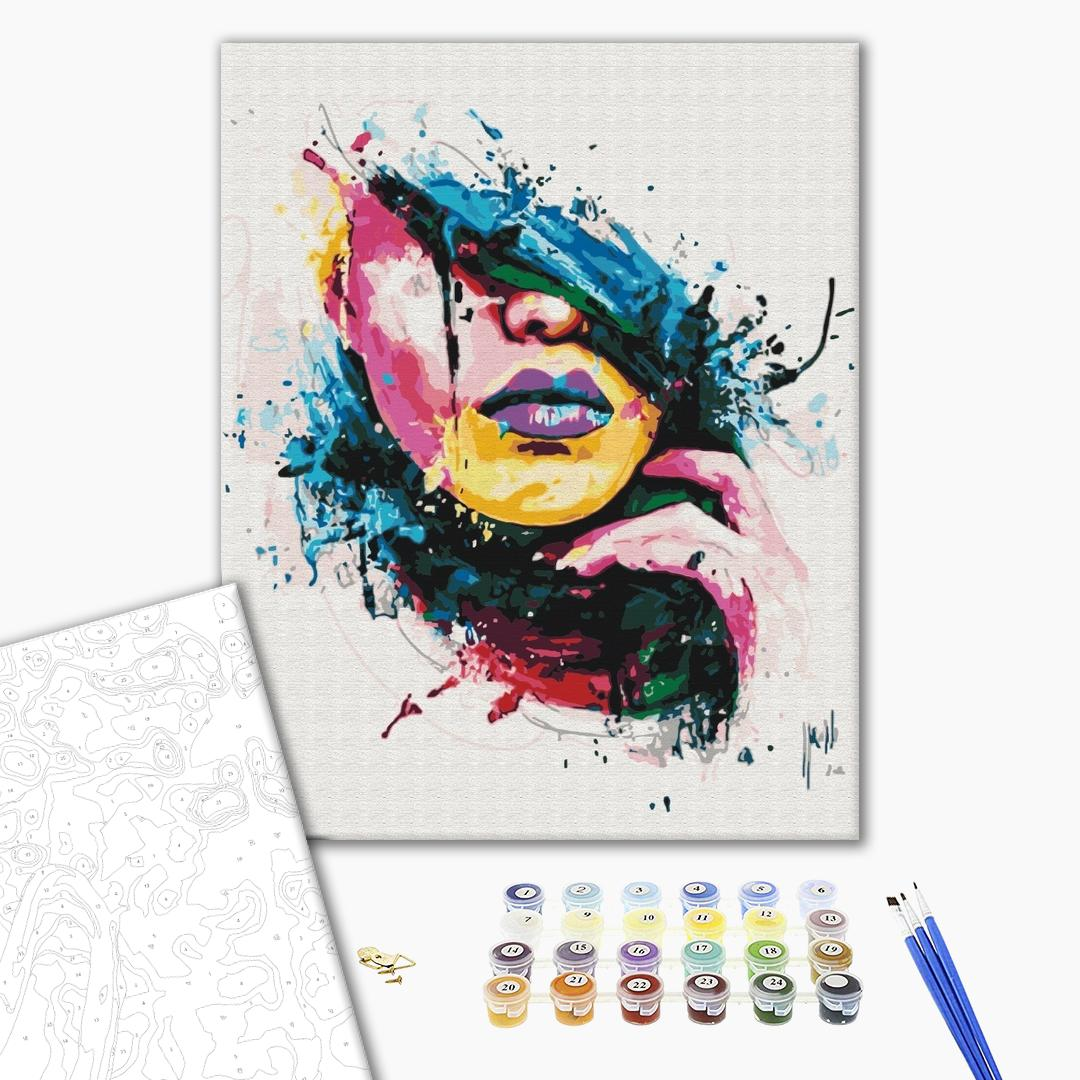 Картина по номерам Поп-арт - Дівчина у фарбах