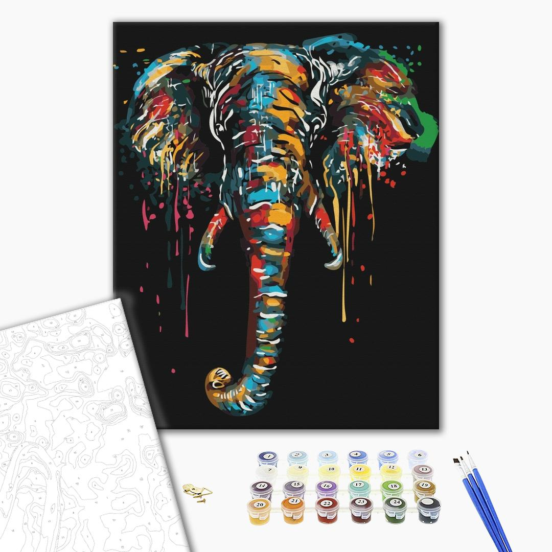Картина по номерам Поп-арт - Слон у фарбах