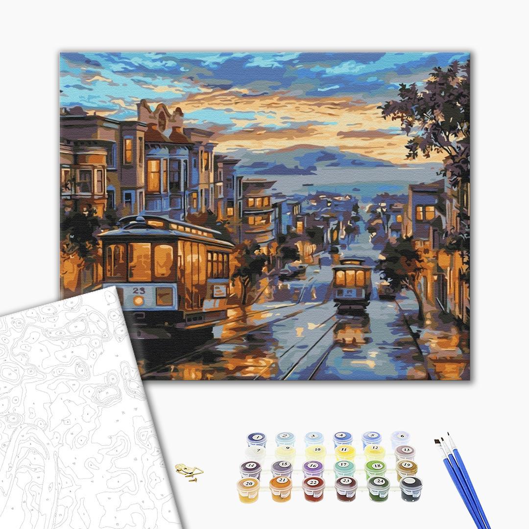 Картина по номерам Города - Місто в фарбах дощу