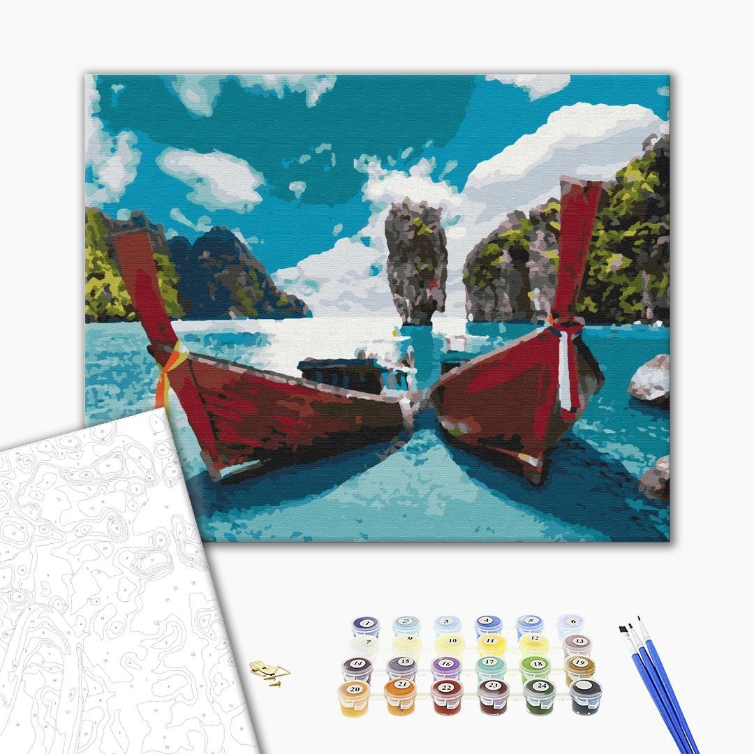 Картина по номерам Природа - Лодки в лагуне