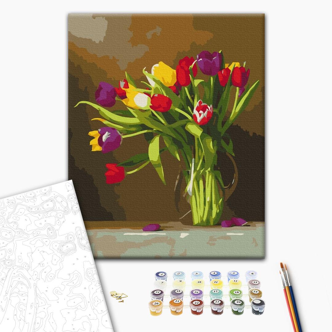 Картина по номерам Цветы - Кольорові тюльпани