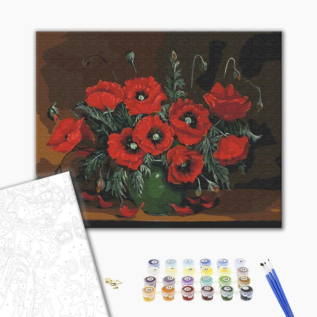Картина по номерам Цветы - Натюрморт с маками