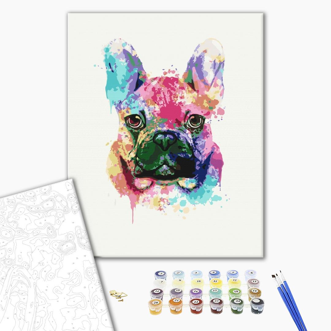 Картина по номерам Поп-арт - Красочный бульдог