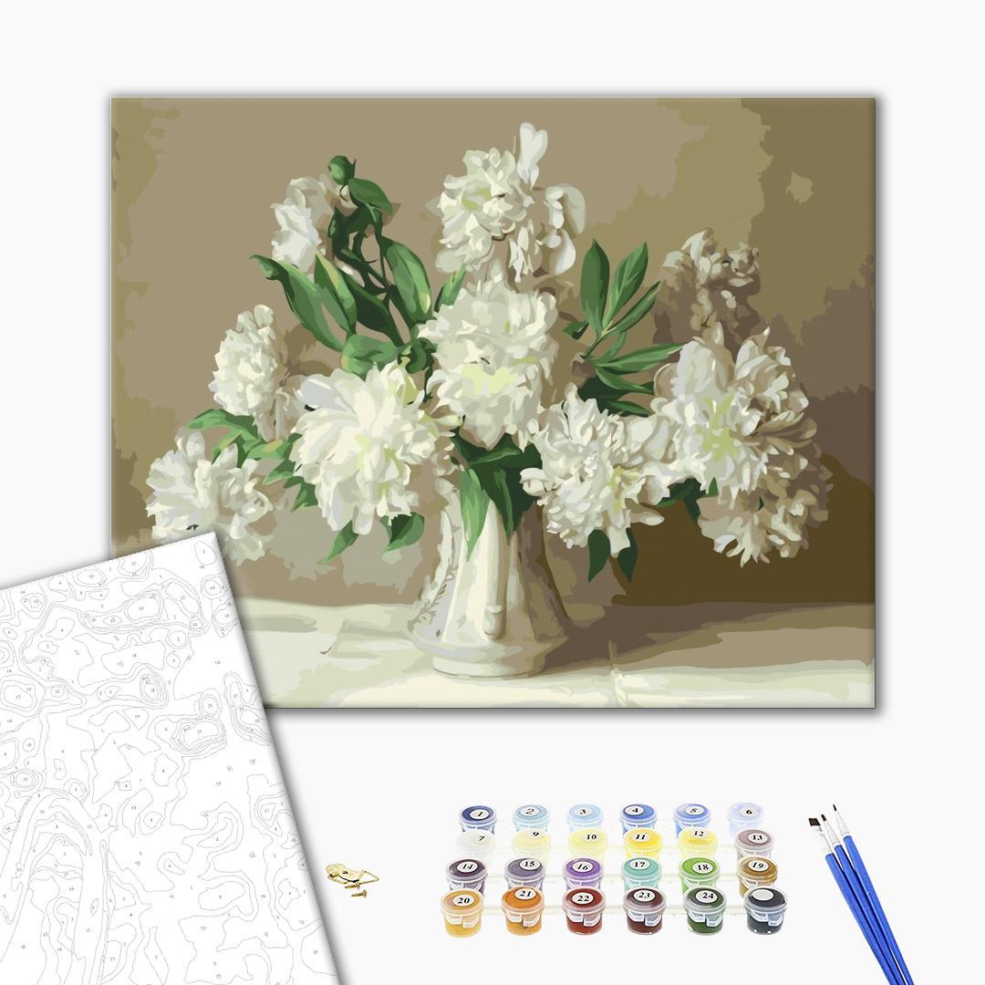 Картина по номерам Цветы - Белые пионы в вазе