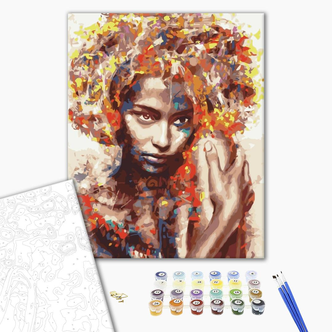 Картина по номерам Абстракции - Незнакомка в красках