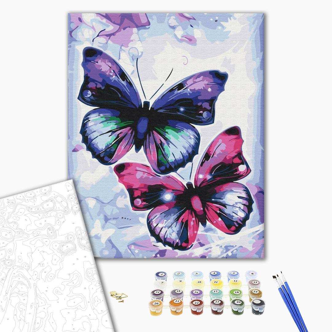 Картина по номерам Животные, птицы и рыбы - Блестящие бабочки