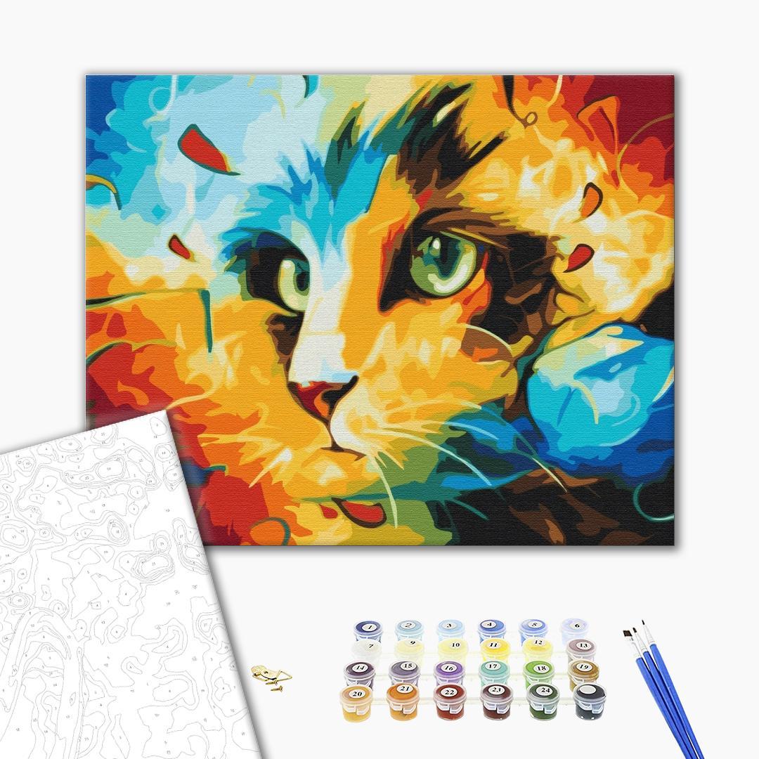 Картина по номерам Поп-арт - Кіт в яскравих фарбах