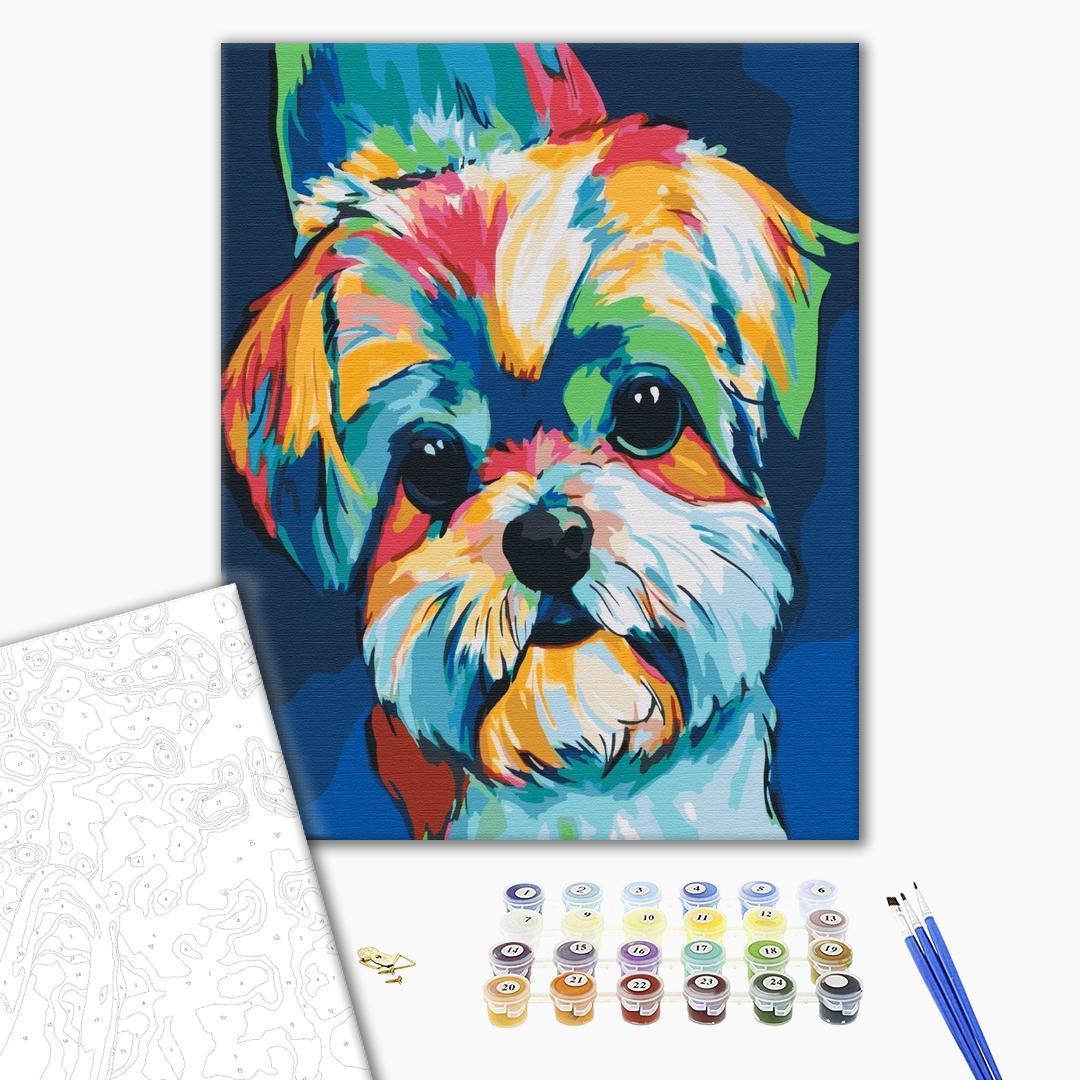 Картина по номерам Поп-арт - Яркая собачка
