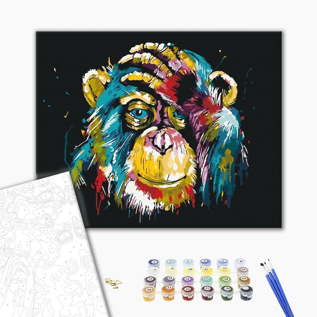 Картина по номерам Поп-арт - Барвиста шимпанзе