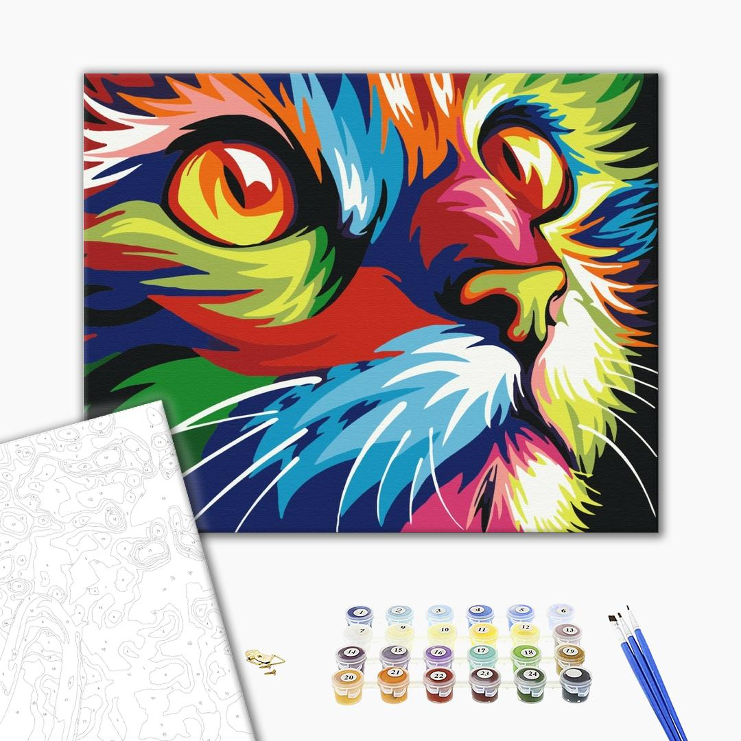 Картина по номерам Поп-арт - Веселковий кіт