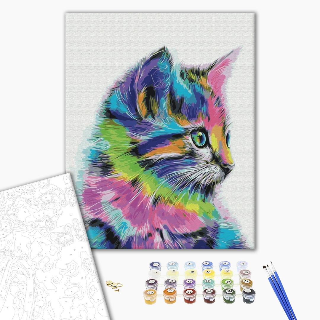 Картина по номерам Поп-арт - Котик у фарбі
