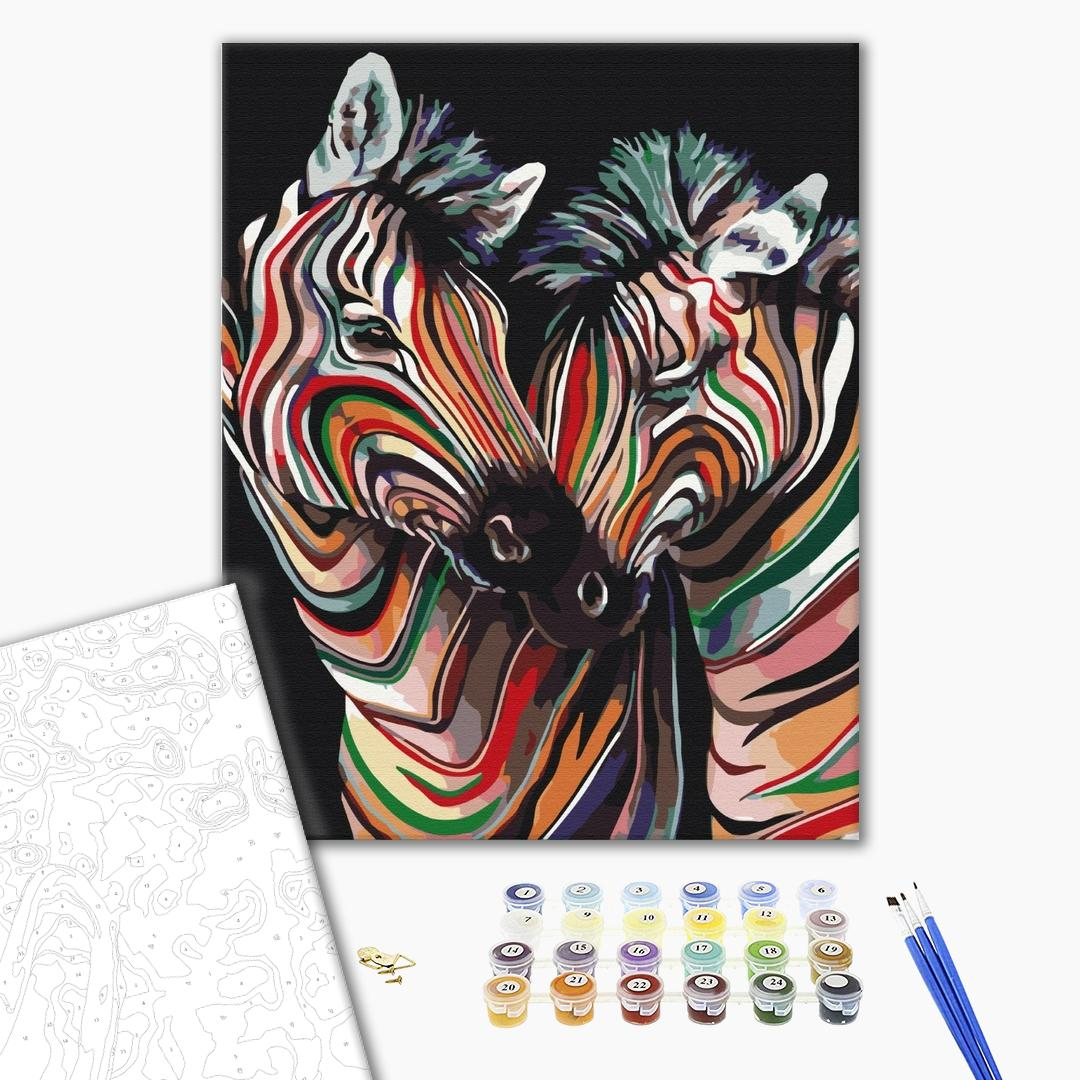 Картина по номерам Поп-арт - Пара радужных зебр