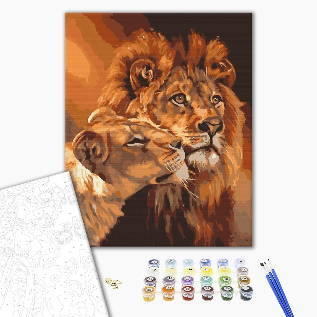 Картина по номерам Животные, птицы и рыбы - Львиная любовь