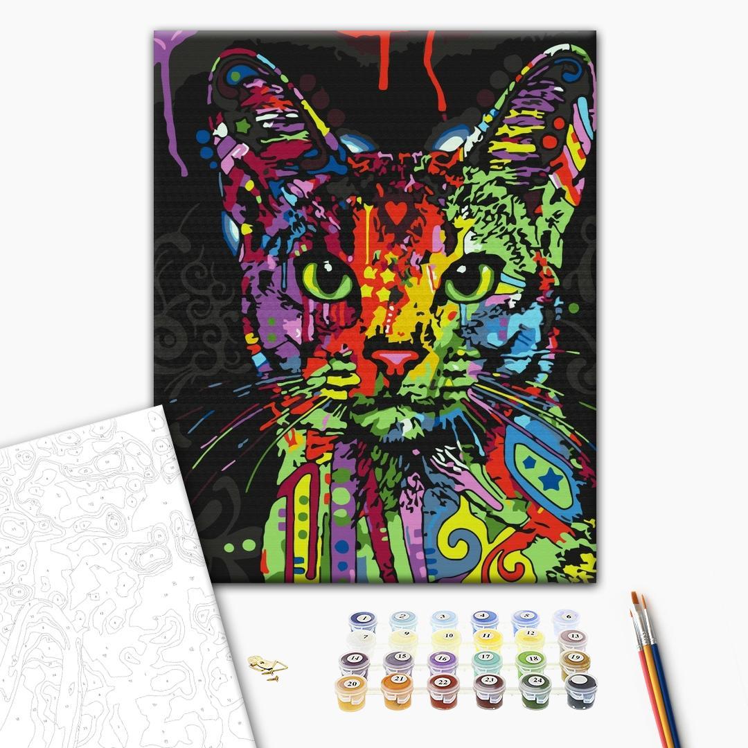 Картина по номерам Поп-арт - Абиссинская кошка