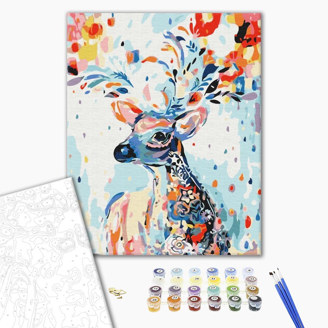 Картина по номерам Животные, птицы и рыбы - Красочный олень