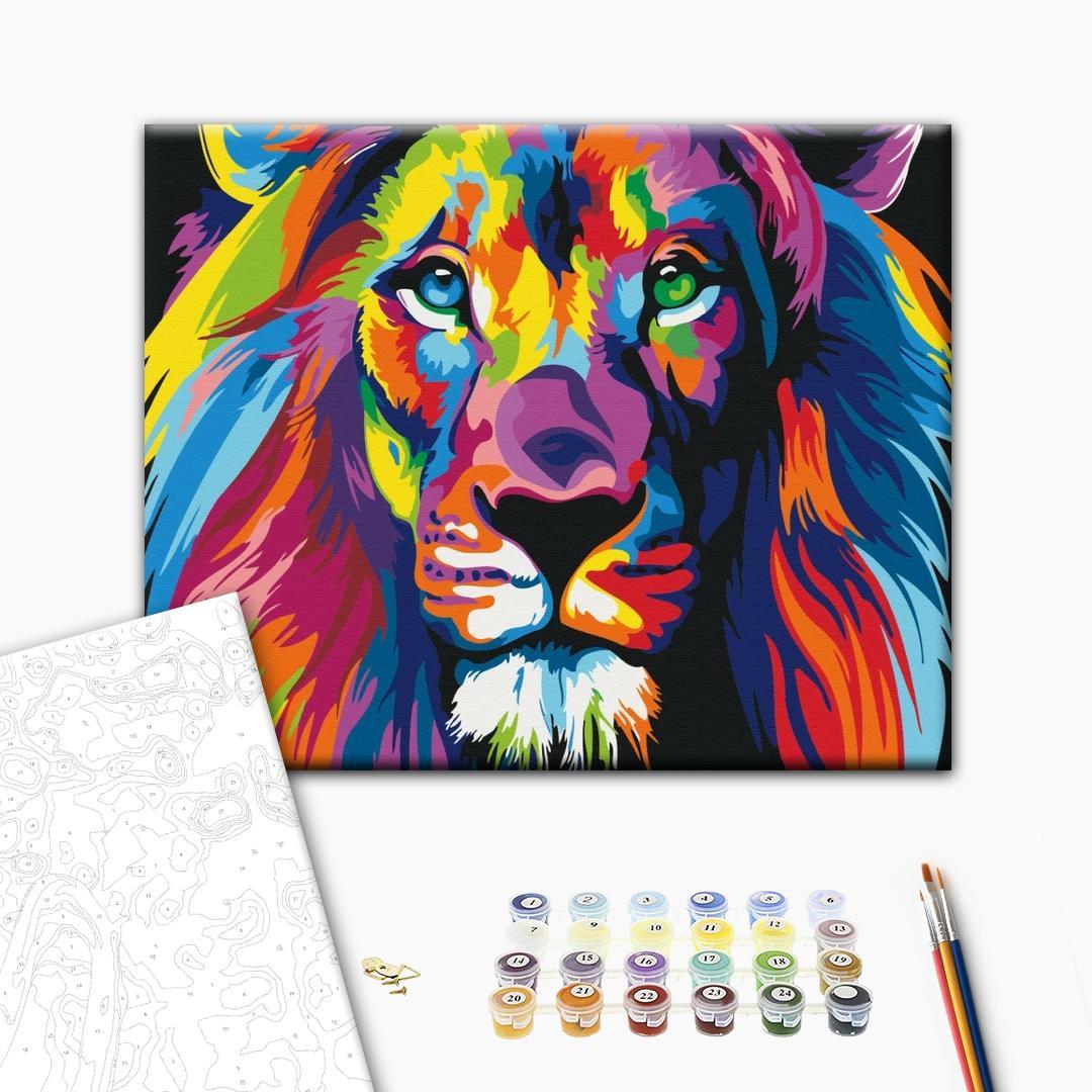 Картина по номерам Поп-арт - Радужный лев