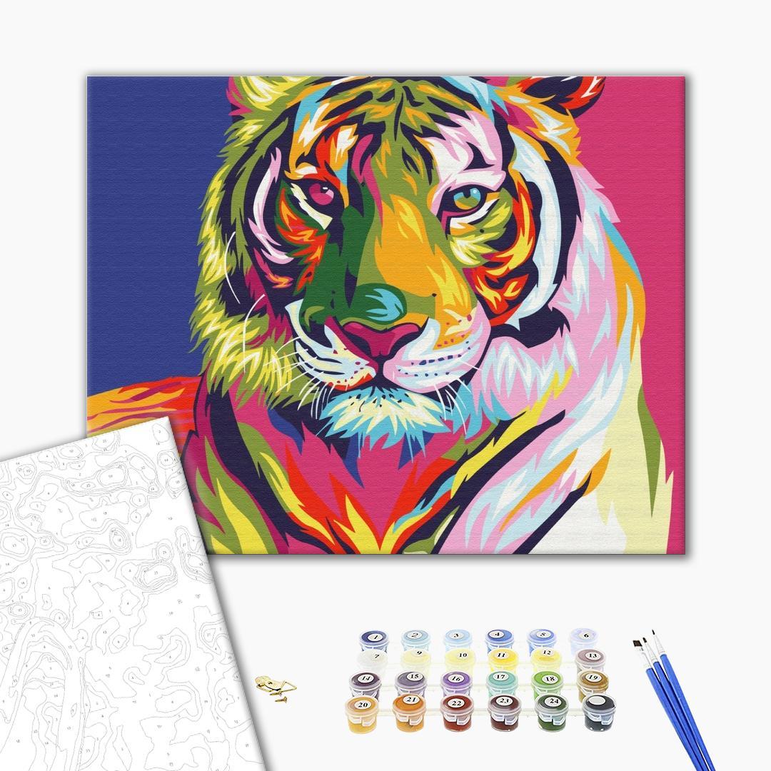 Картина по номерам Поп-арт - Тигр поп арт