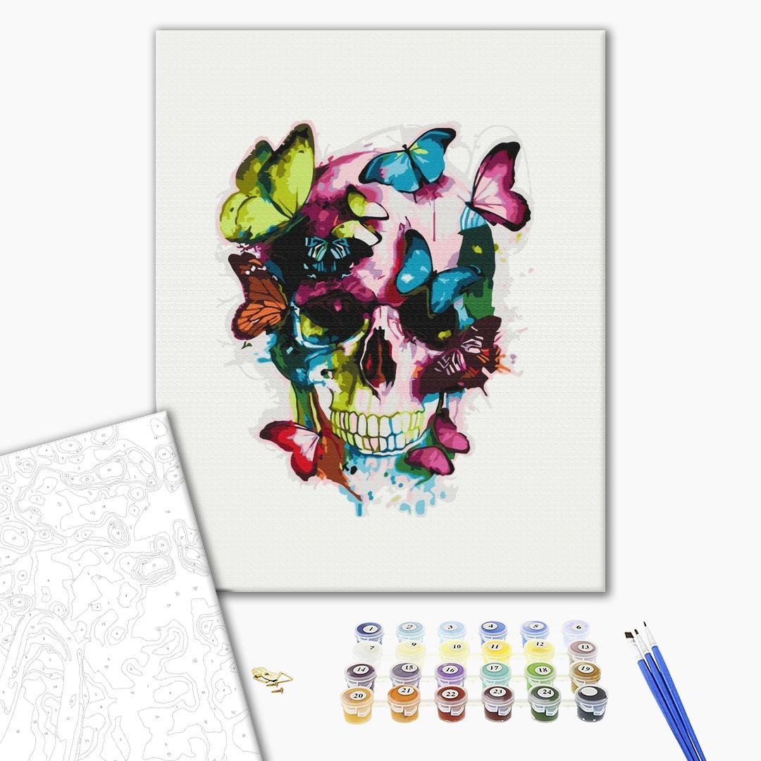 Картина по номерам Уникальные сюжеты - Череп с бабочками