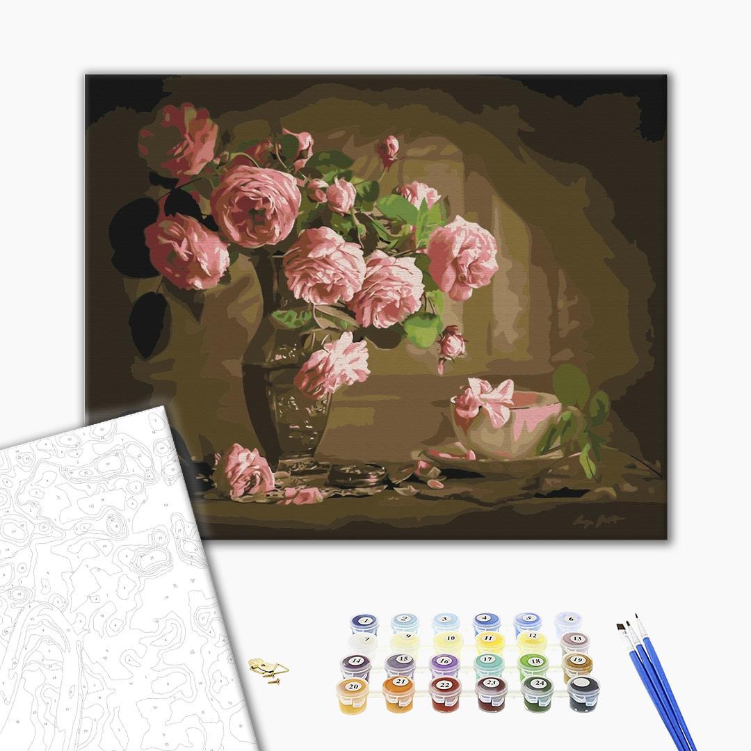 Картина по номерам Цветы - Чайні троянди у вазі