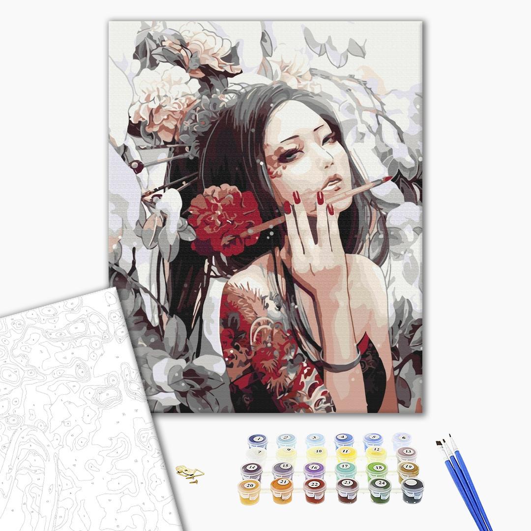 Картина по номерам Люди на картинах - Девушка с татуировкой дракона
