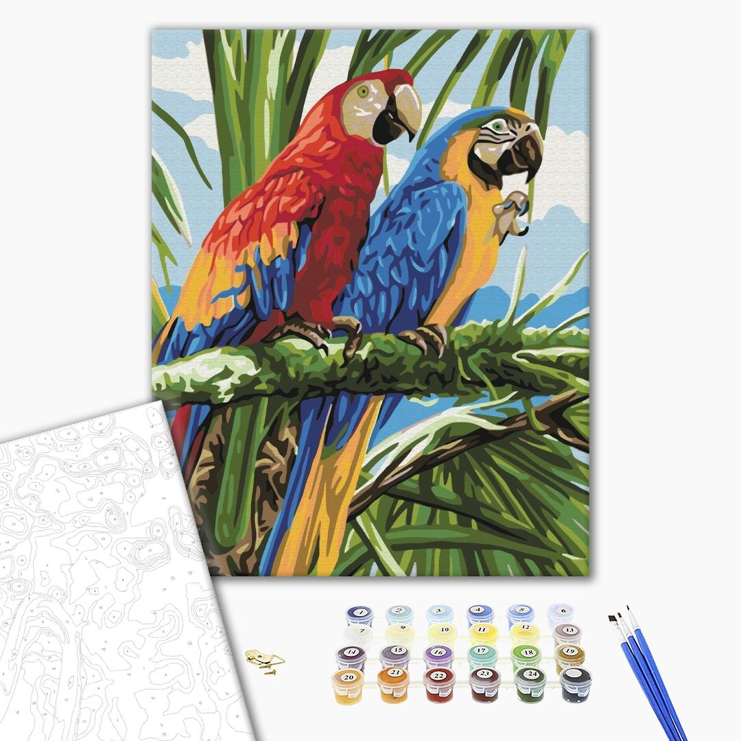 Картина по номерам Животные, птицы и рыбы - Яскраві ара