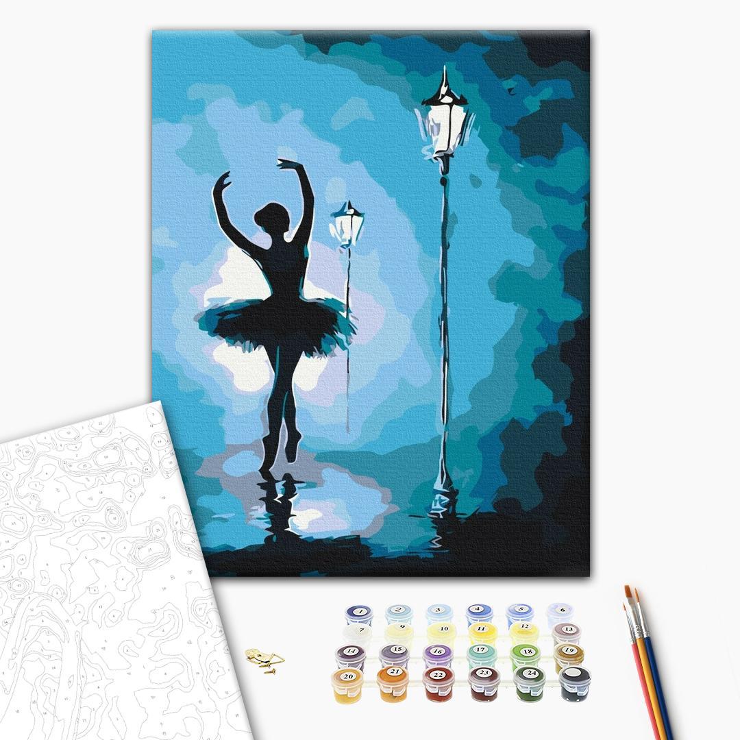 Картина по номерам Люди на картинах - Балерина в світлі ліхтарів