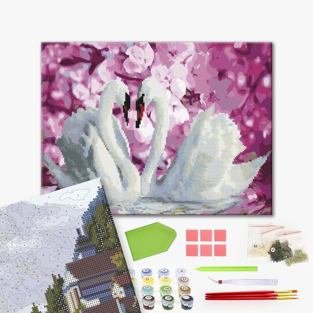 Алмазные картины-раскраски - Лебеді в квітах