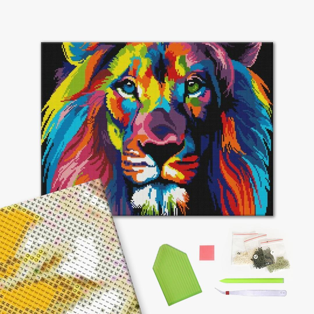 Алмазная мозаика 40х50 - Веселковий лев