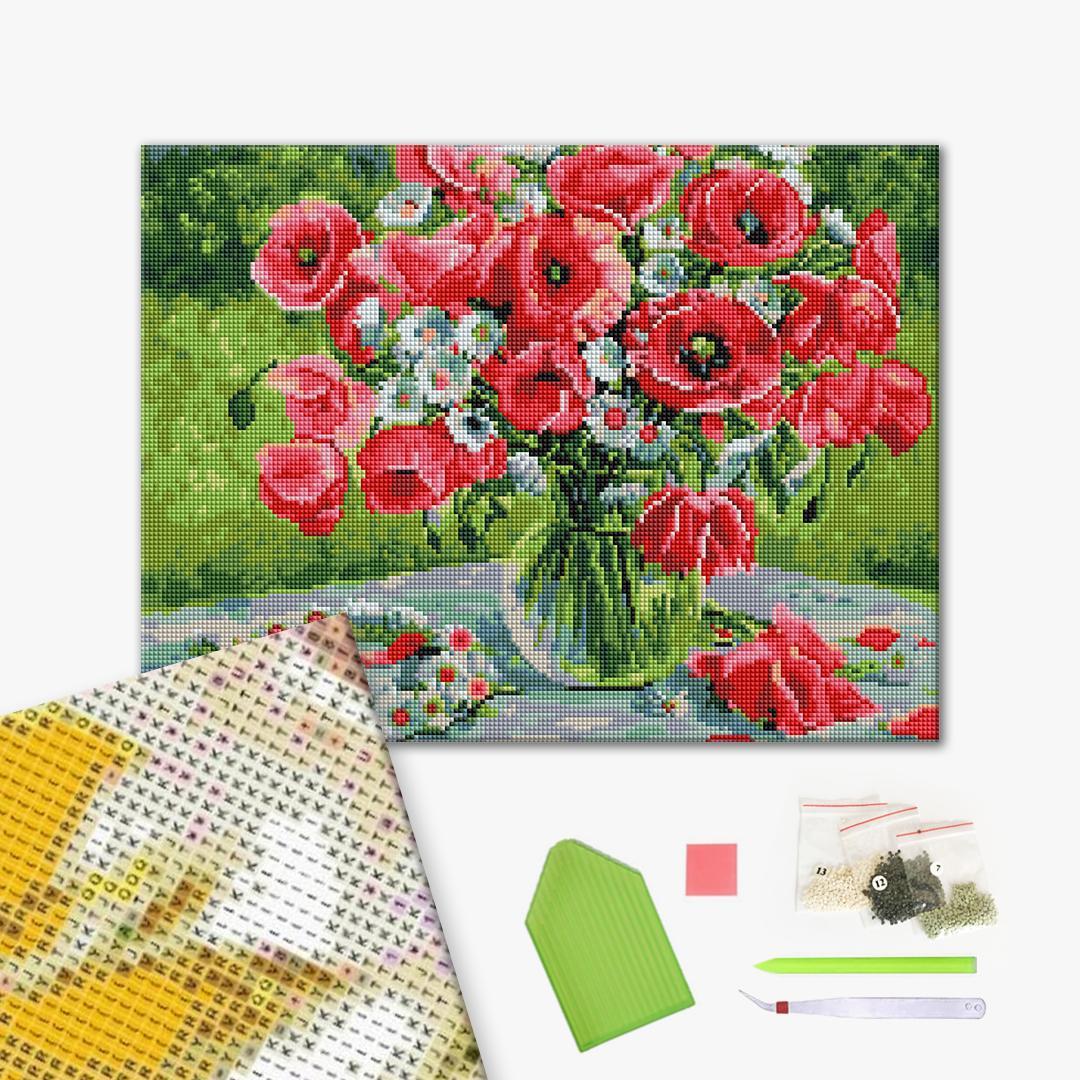 Алмазная мозаика 40х50 - Веночик полевых цветов