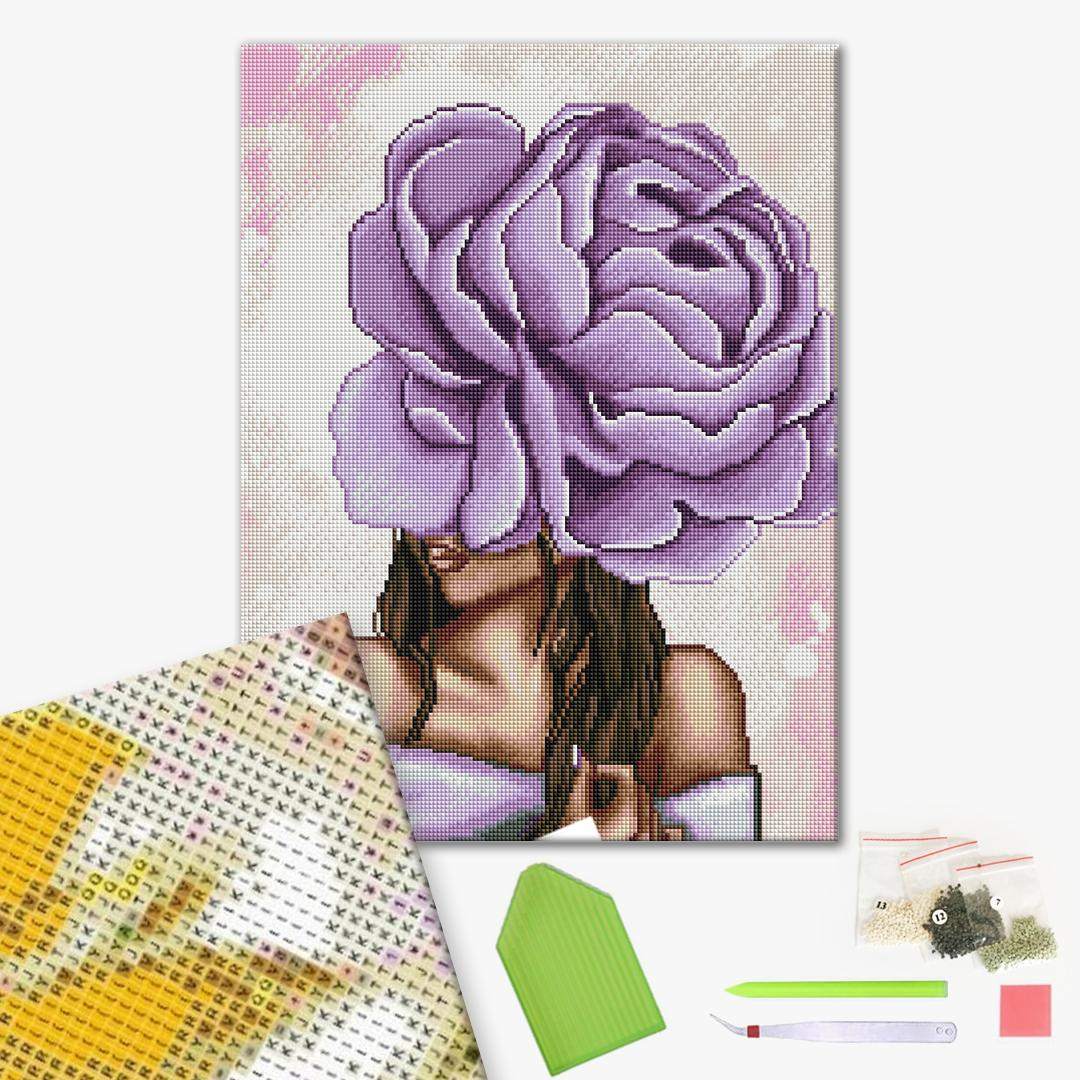 Алмазная мозаика 40х50 - Фиолетовый пион