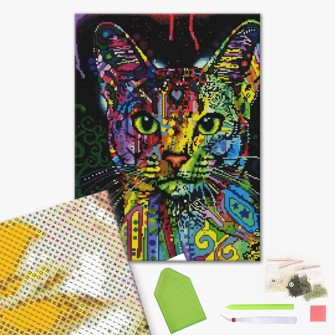 Алмазная мозаика 40х50 - Красочный кот