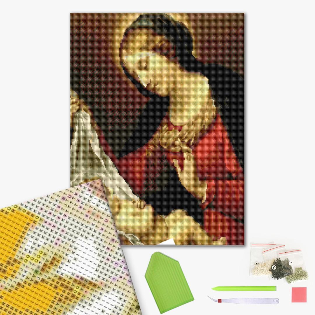 Алмазная мозаика 40х50 - Матір Божа з немовлям