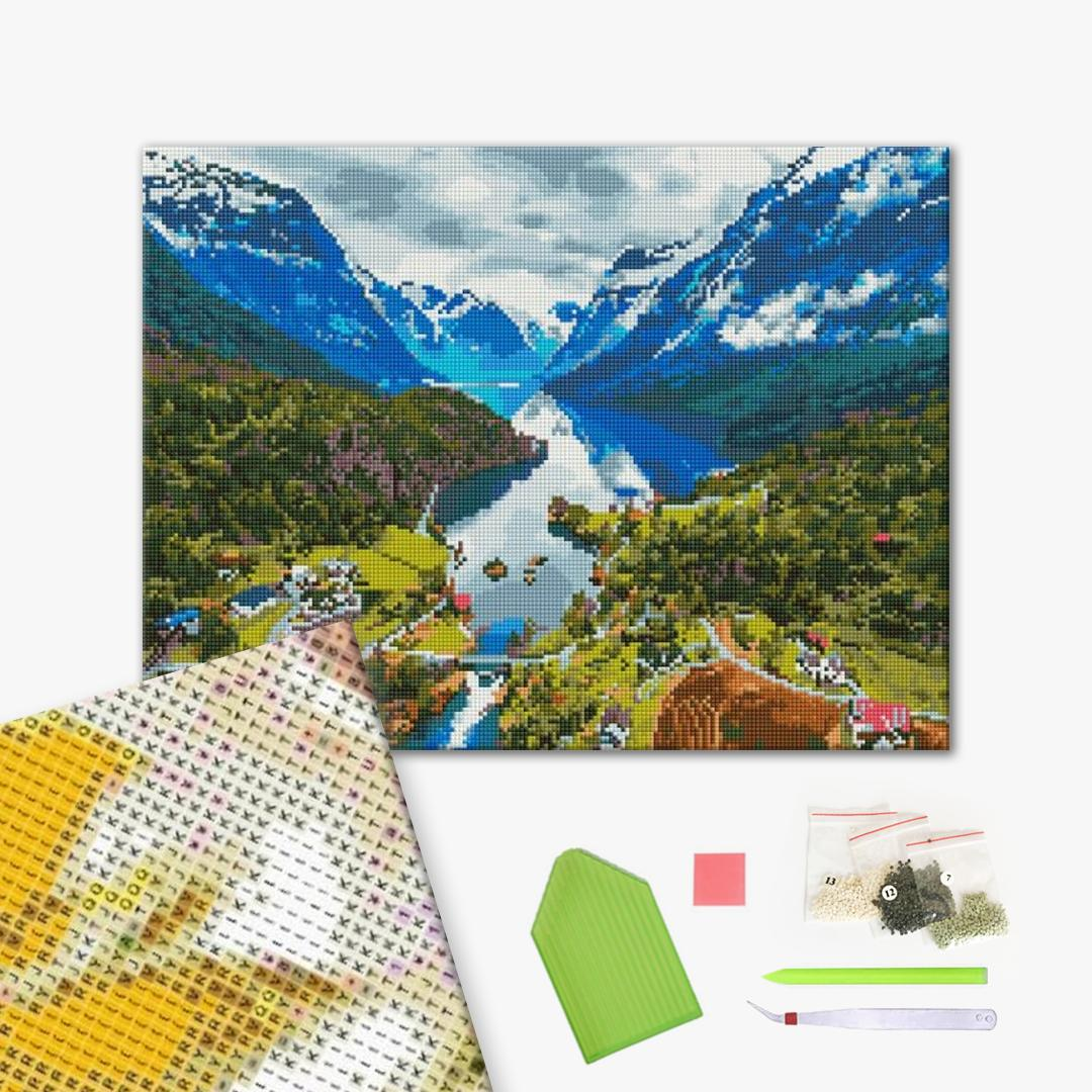 Алмазная мозаика 40х50 - Горный пейзаж