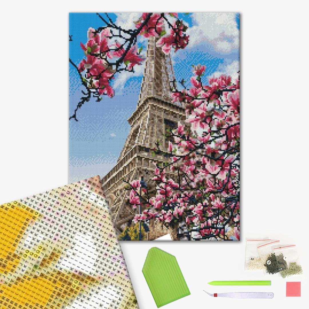 Алмазная мозаика 40х50 - Париж в магнолиях